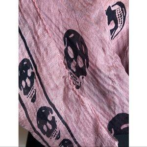 Alexander McQueen Accessories - Alexander McQueen Skull Silk Scarf Mauve Pink Logo